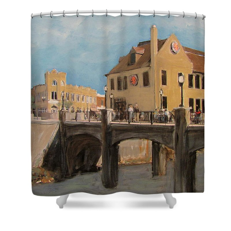 Milwaukee Shower Curtain featuring the mixed media Cafe Hollander 1 by Anita Burgermeister