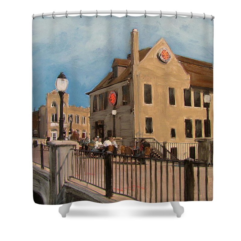 Milwaukee Shower Curtain featuring the mixed media Cafe Hollander 2 by Anita Burgermeister
