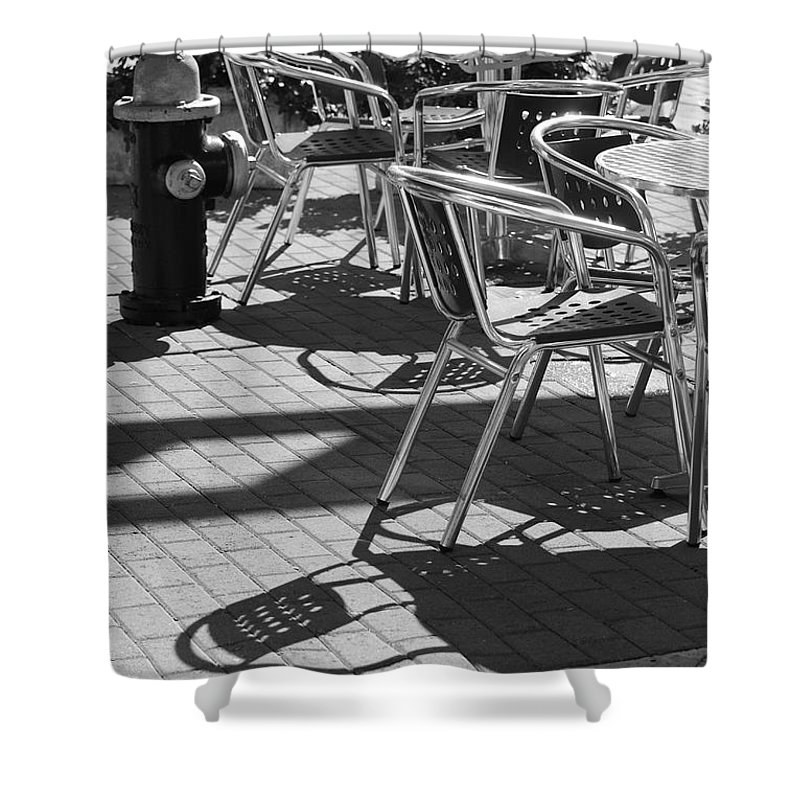 Fire Hydrant Shower Curtain featuring the photograph Cafe Hydrant by Rob Hans