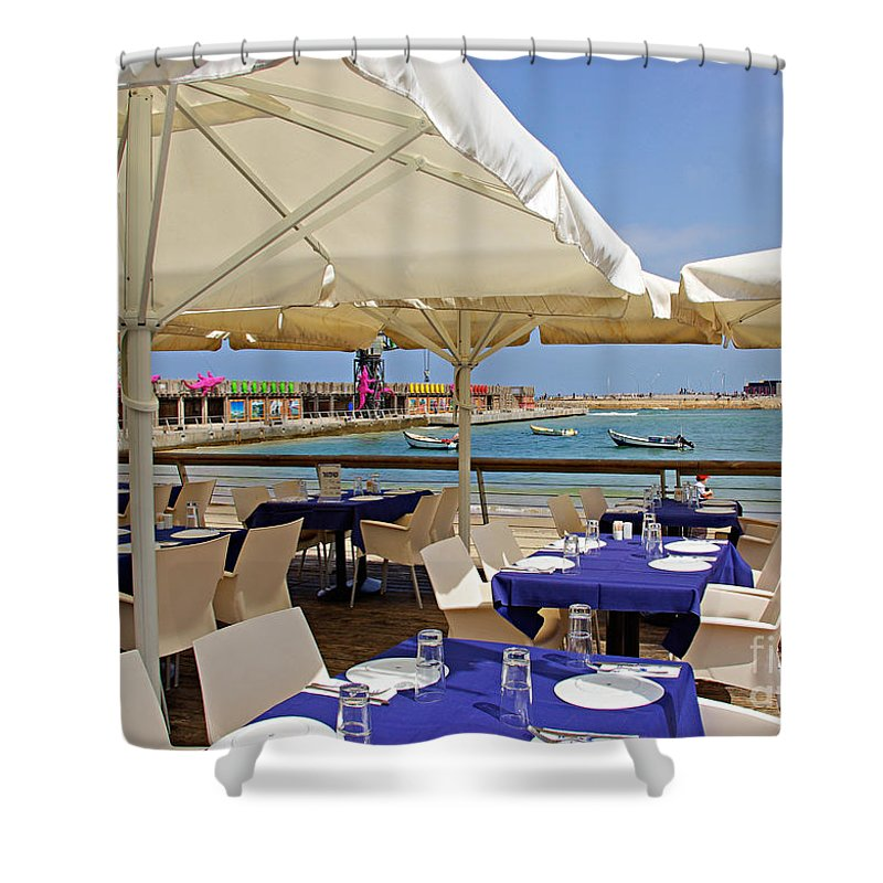 Cafe Shower Curtain featuring the photograph Cafe In White And Purple by Zal Latzkovich