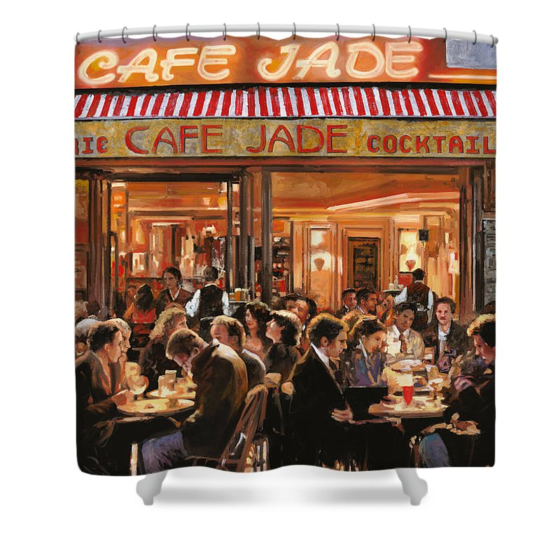 Brasserie Shower Curtain featuring the painting Cafe Jade by Guido Borelli