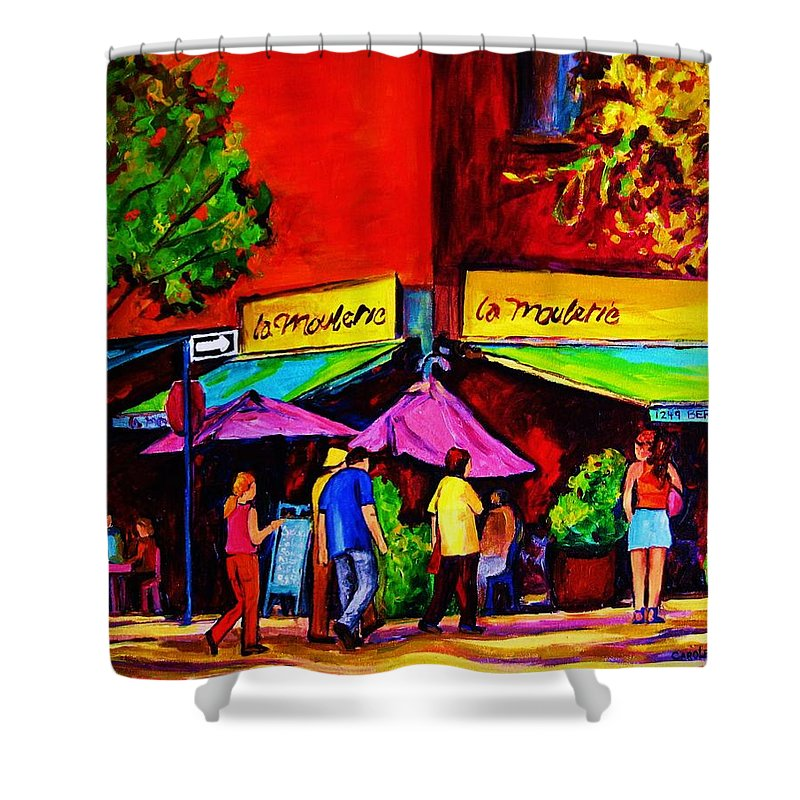 Cafe Scenes Shower Curtain featuring the painting Cafe La Moulerie On Bernard by Carole Spandau