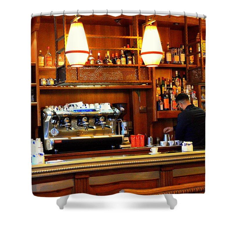 Parisian Coffee Bar Shower Curtain featuring the photograph Cafe by Marla McPherson
