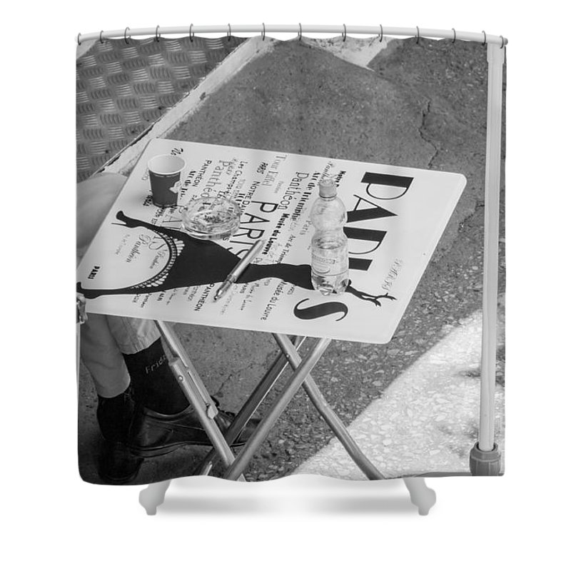 Bulgaria Shower Curtain featuring the photograph Cafe Paris - Local Street Cafe In Sofia by Jivko Nakev