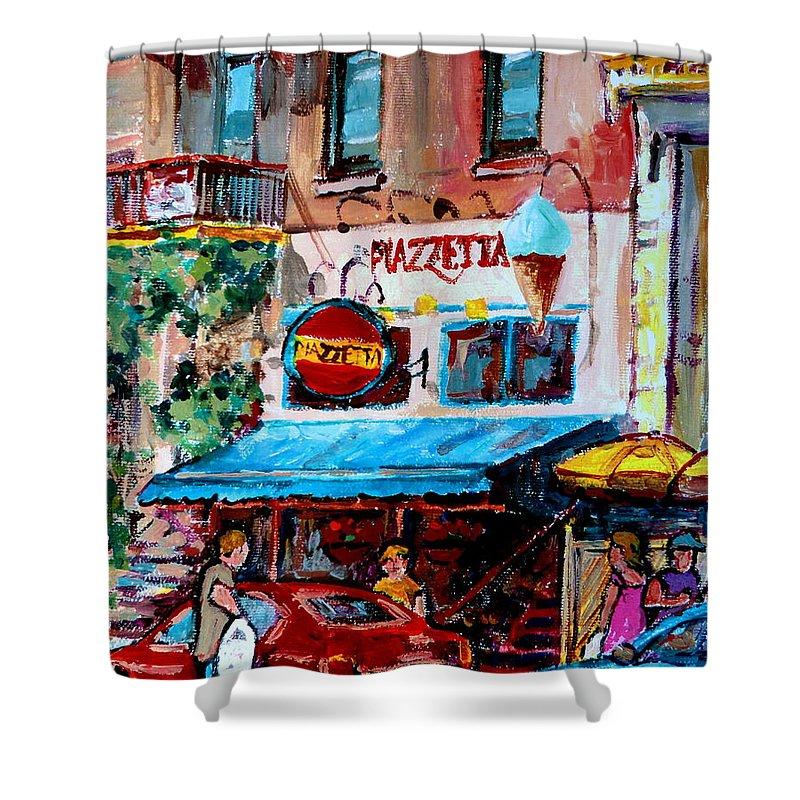 Cafes On St Denis Paris Cafes Shower Curtain featuring the painting Cafe Piazzetta St Denis by Carole Spandau