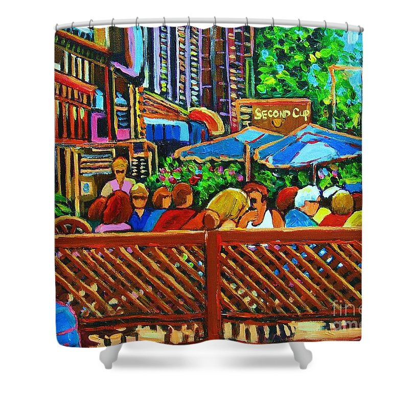 Cafes Shower Curtain featuring the painting Cafe Second Cup by Carole Spandau