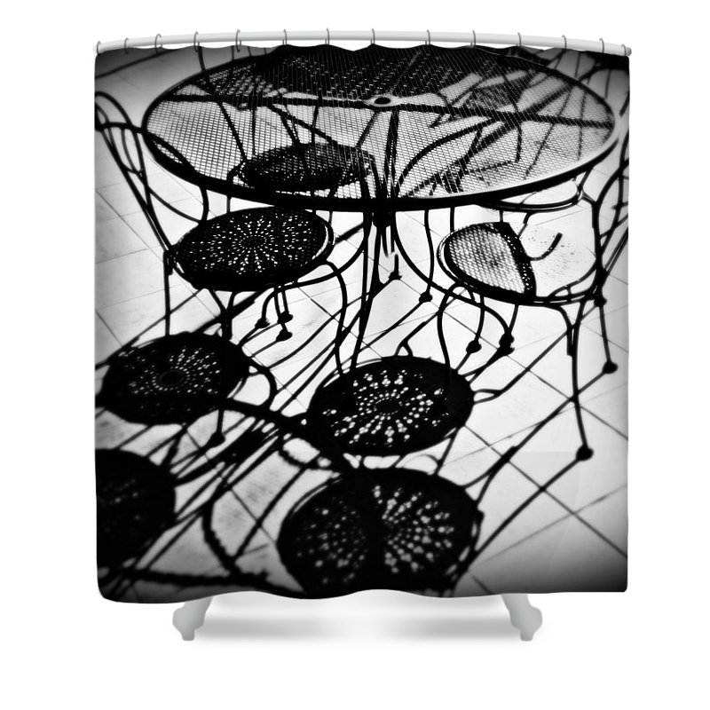 Cafe Shower Curtain featuring the photograph Cafe Table Shadows by Perry Webster
