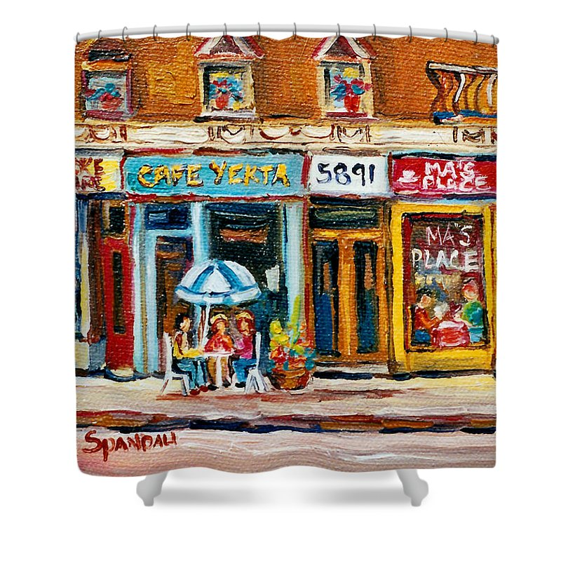 Cafes Shower Curtain featuring the painting Cafe Yenta And Ma's Place by Carole Spandau