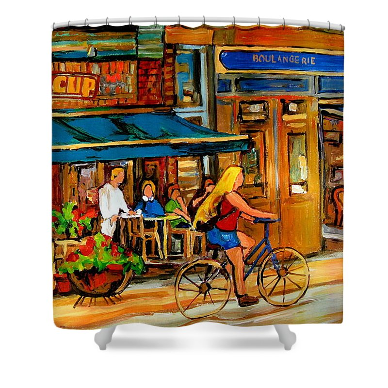 Cafes Shower Curtain featuring the painting Cafes With Blue Awnings by Carole Spandau