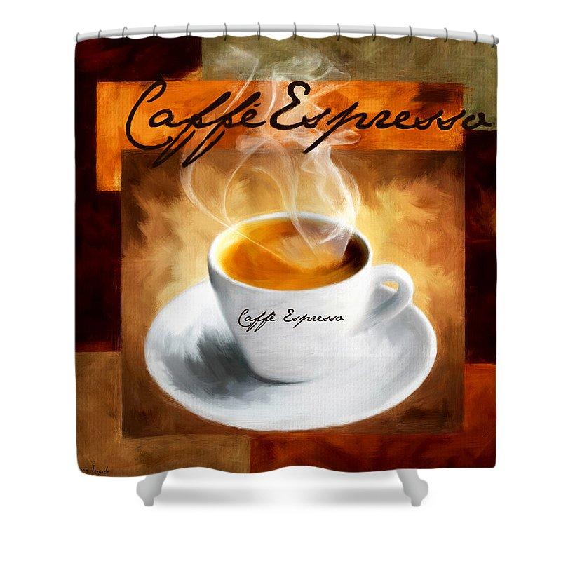 Coffee Shower Curtain featuring the digital art Caffe Espresso by Lourry Legarde