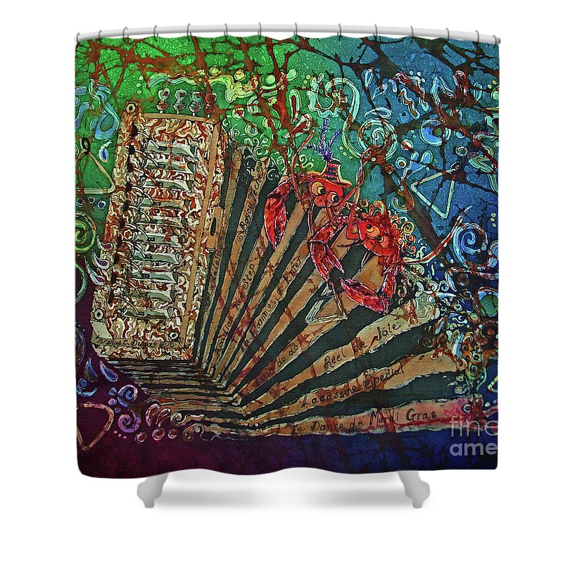 Cajun Shower Curtain featuring the painting Cajun Accordian by Sue Duda