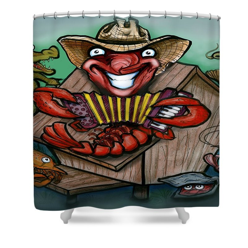 Cajun Shower Curtain featuring the greeting card Cajun Critters by Kevin Middleton