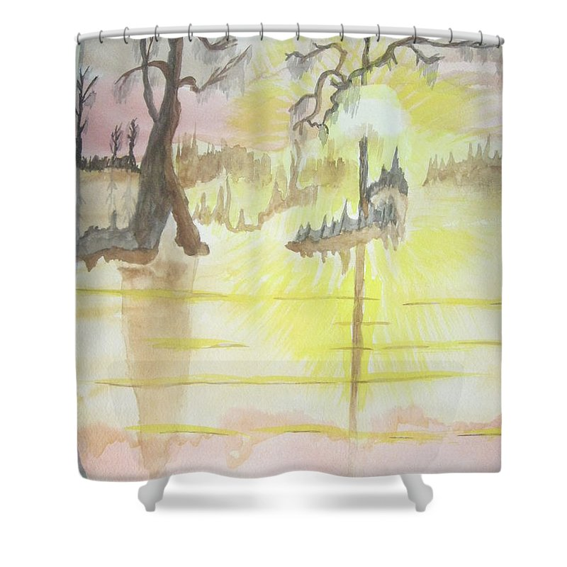 Landscape Watercolor Shower Curtain featuring the painting Cajun Sunrise by Warren Thompson