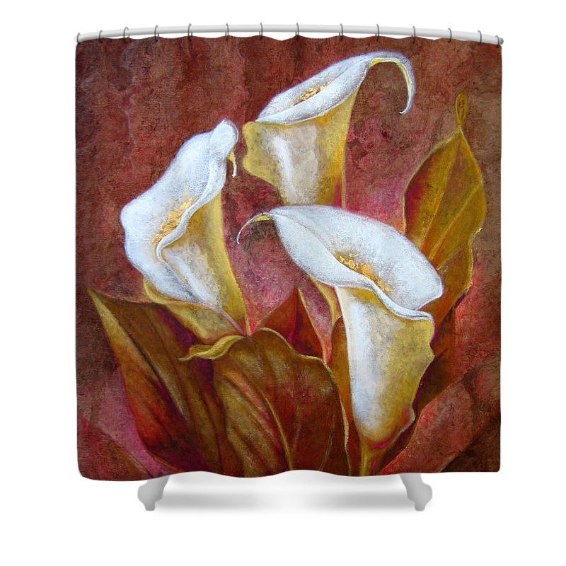 Calla Lillies Shower Curtain featuring the painting C A L A S . B O U Q U E T by J - O  N  E