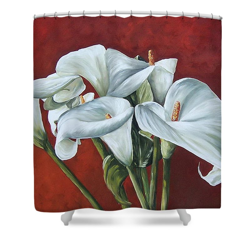 Calas Shower Curtain featuring the painting Calas by Natalia Tejera