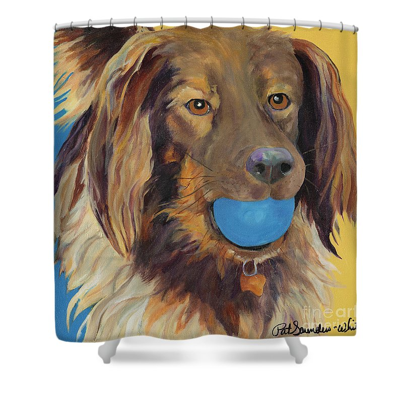 Dog Art Shower Curtain featuring the painting Caleigh by Pat Saunders-White