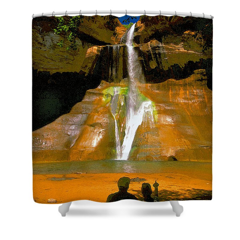 Calf Creek Falls Utah Shower Curtain featuring the painting Calf Creek Falls Utah by David Lee Thompson