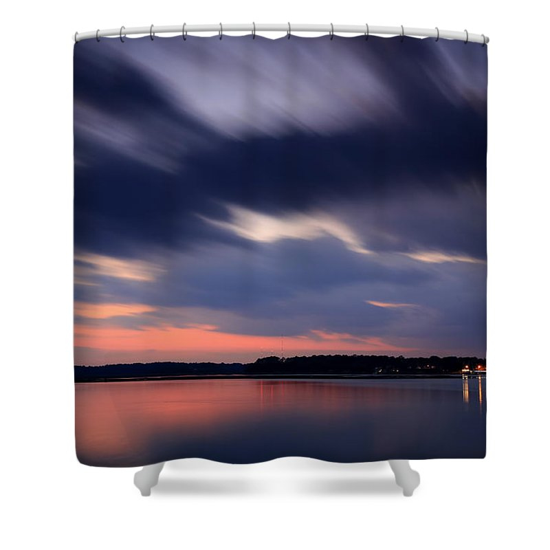Calibogue Sound Shower Curtain featuring the photograph Calibogue Sound After Dark by Phill Doherty