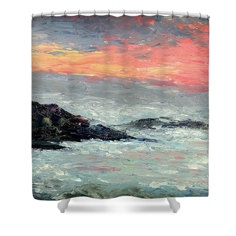 Seascape Shower Curtain featuring the painting California Coast by Gail Kirtz