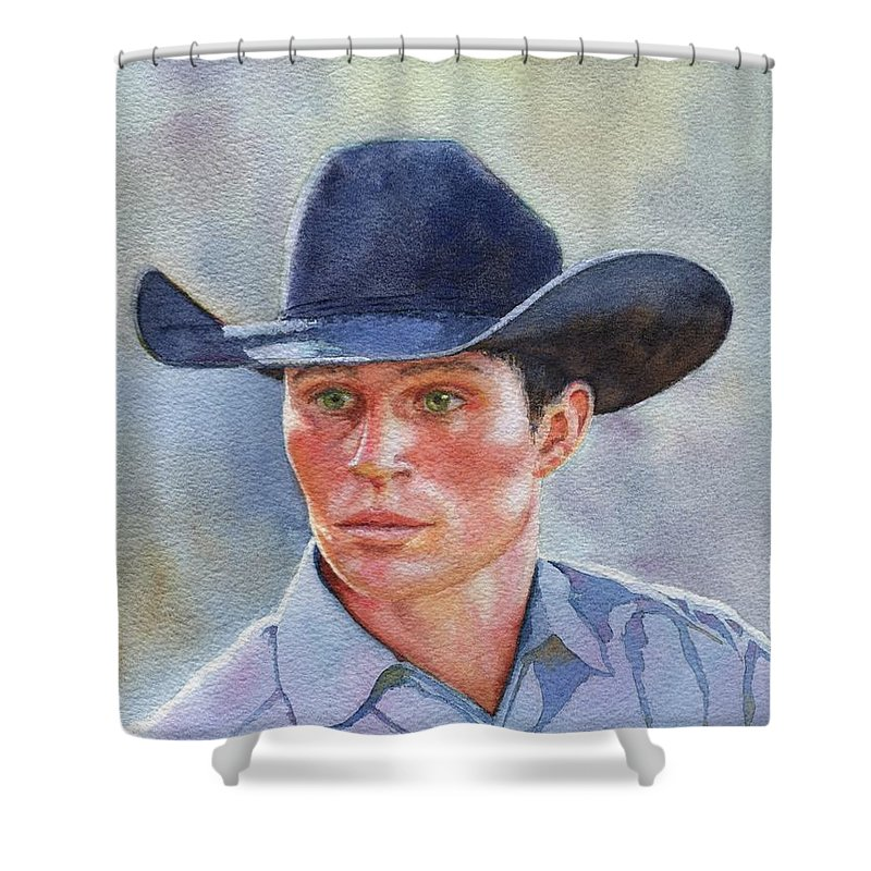 Horse Shower Curtain featuring the painting California Cowboy by Valerie Coe