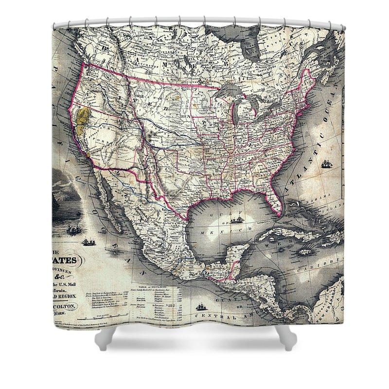 Map Of California During Gold Rush.California Gold Rush Map Of The United States 1849 Shower Curtain