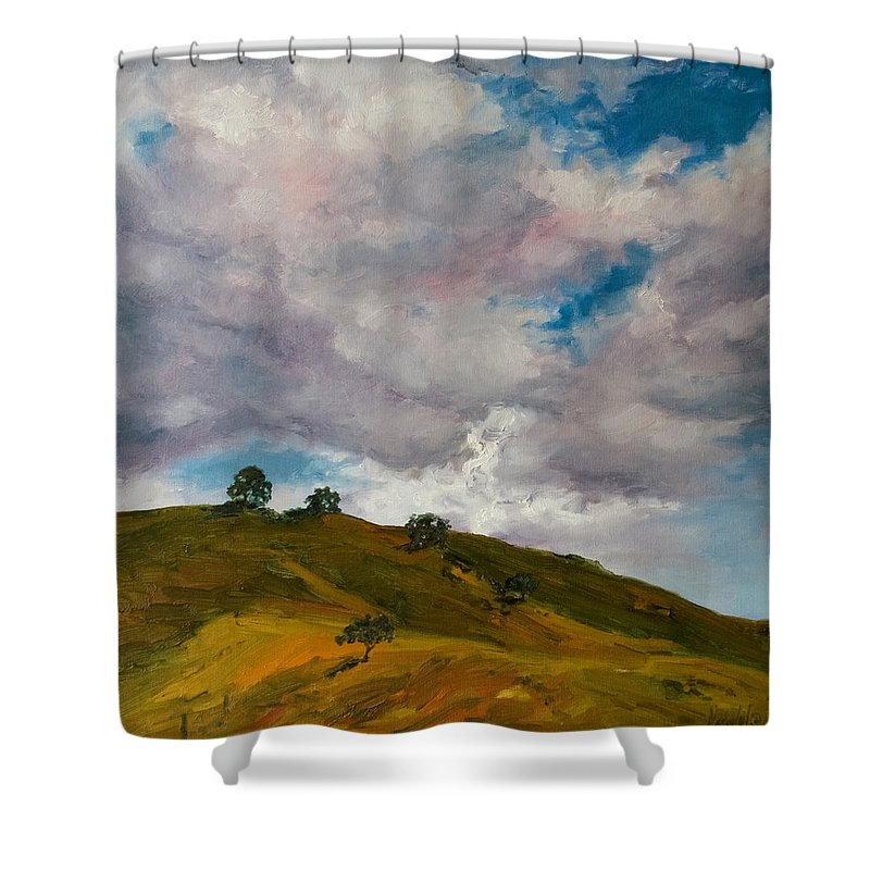 Sky Shower Curtain featuring the painting California Hills by Rick Nederlof