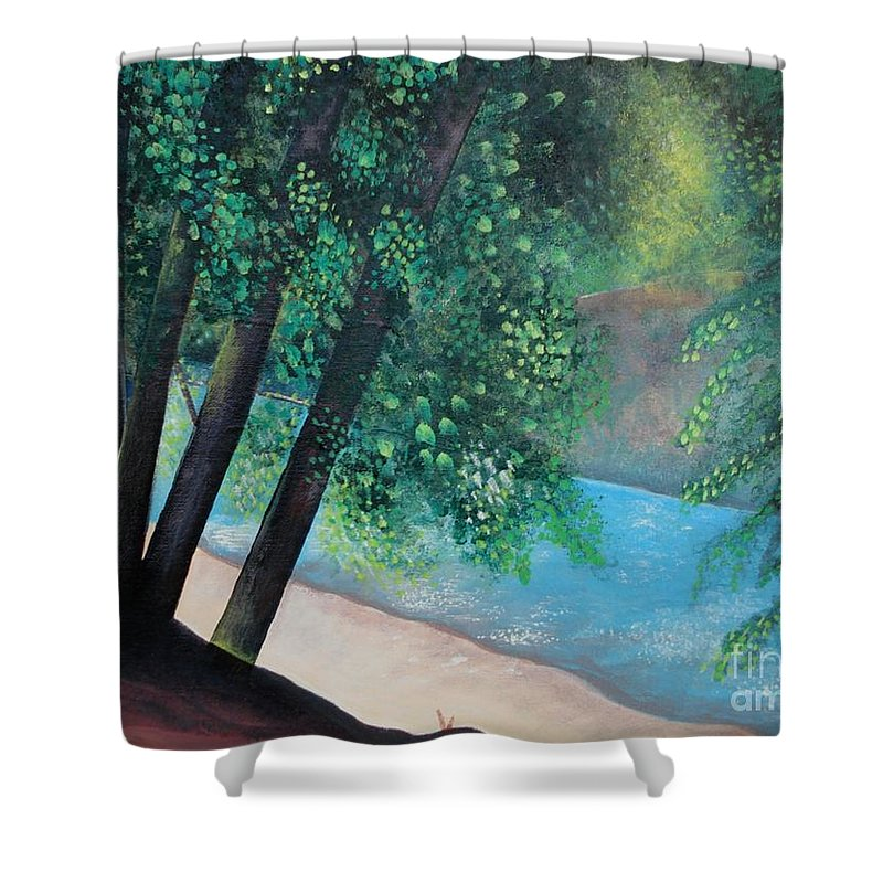 Landscape Shower Curtain featuring the painting California Magic by Helena Tiainen
