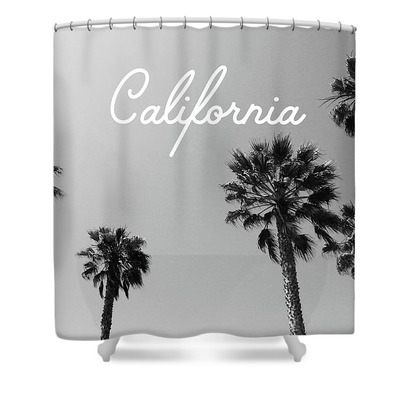 California Shower Curtain Featuring The Mixed Media California Palm Trees  By Linda Woods By Linda Woods