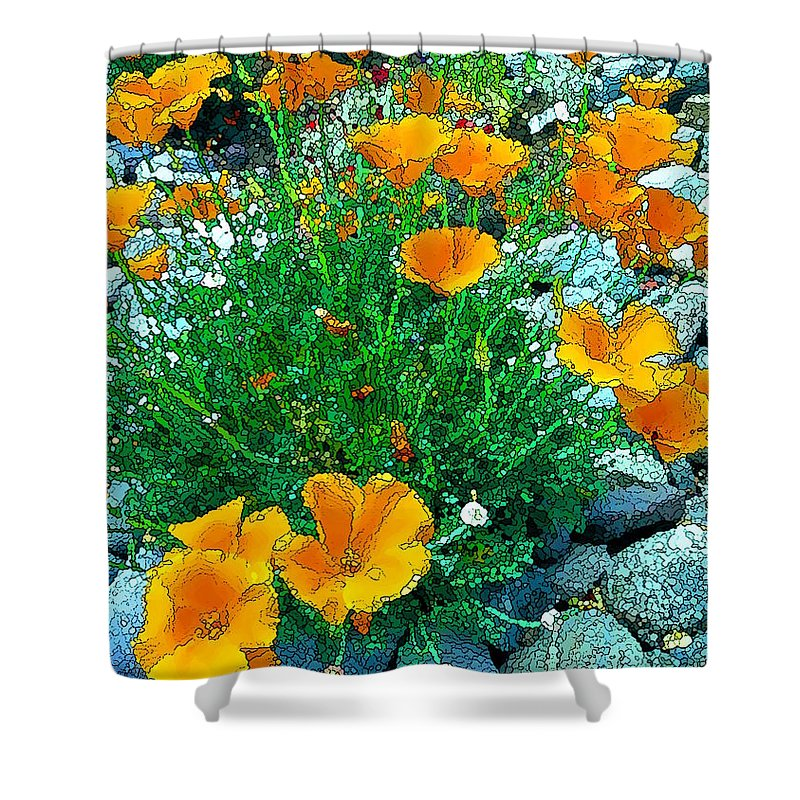 California Poppies Shower Curtain featuring the photograph California Poppie In River Rock by David Wimsatt