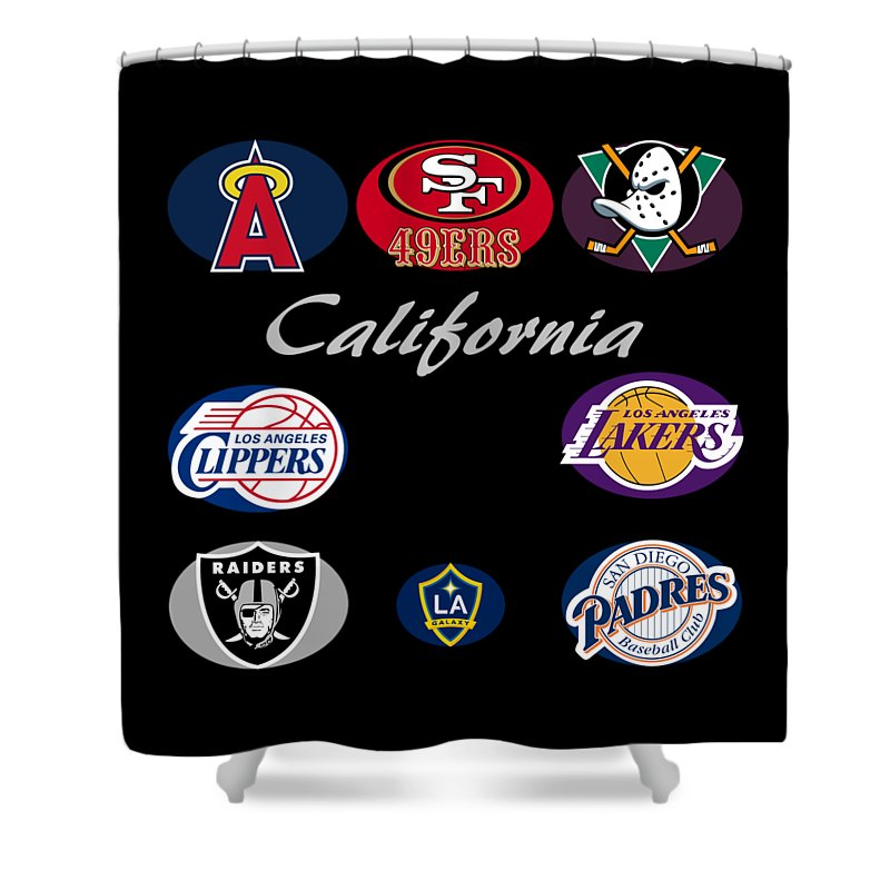California Shower Curtain Featuring The Digital Art Professional Sport Teams Collage By Movie Poster Prints