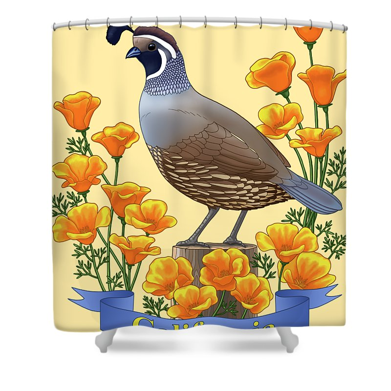 California Shower Curtain Featuring The Painting Quail And Golden Poppies By Crista Forest