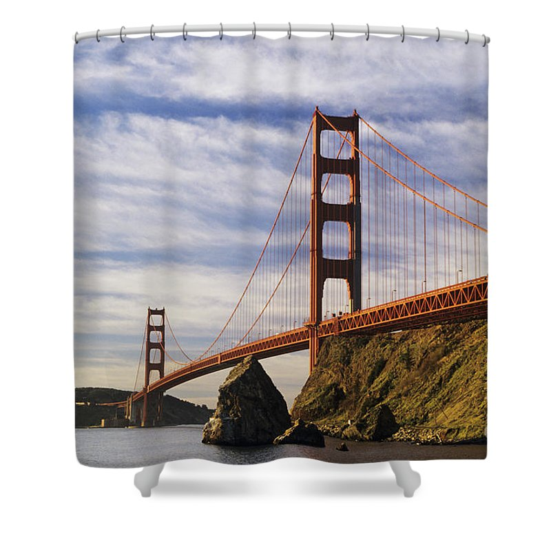 Across Shower Curtain featuring the photograph California, San Francisco by Larry Dale Gordon - Printscapes