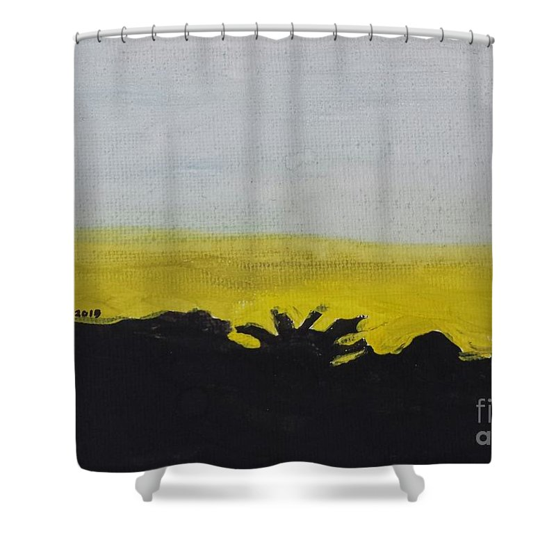 Landscape Shower Curtain featuring the painting California Sunset by Epic Luis Art