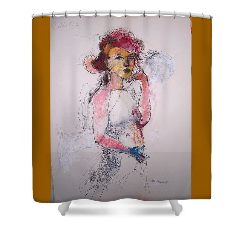 Charcoal Shower Curtain featuring the drawing Call Me by Mykul Anjelo