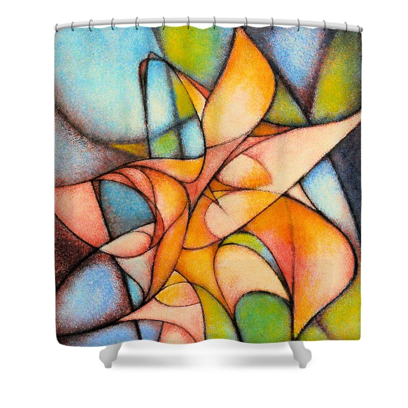 Contemporary Shower Curtain featuring the painting Calla Lillies by Kevin Lawrence Leveque