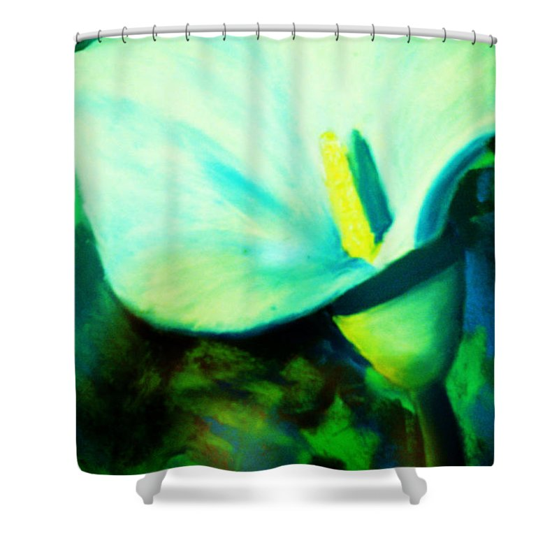 White Calla Lily Shower Curtain featuring the painting Calla Lily by Melinda Etzold
