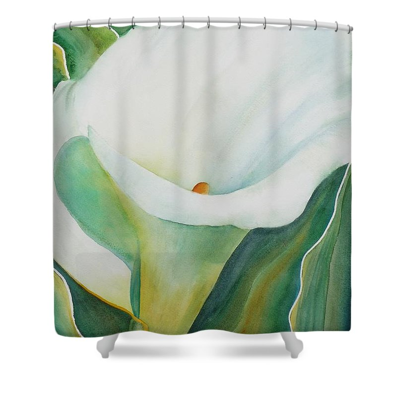 Flower Shower Curtain featuring the painting Calla Lily by Ruth Kamenev