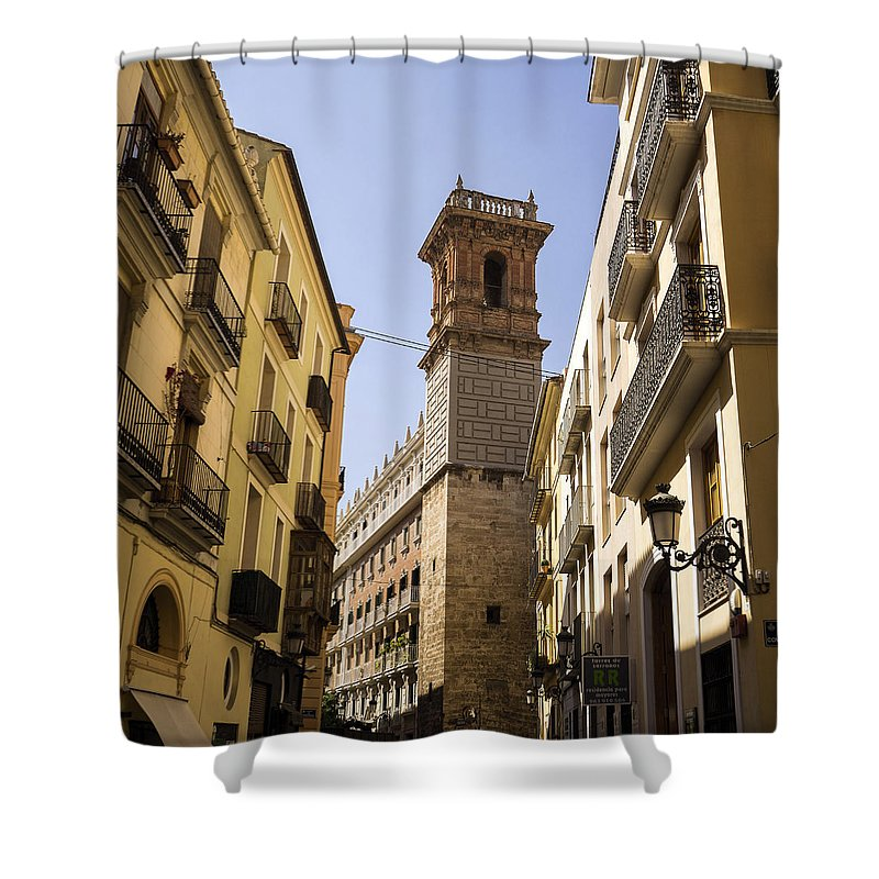 Barrio Carmen Shower Curtain featuring the photograph Calle Serranos In Valencia by For Ninety One Days