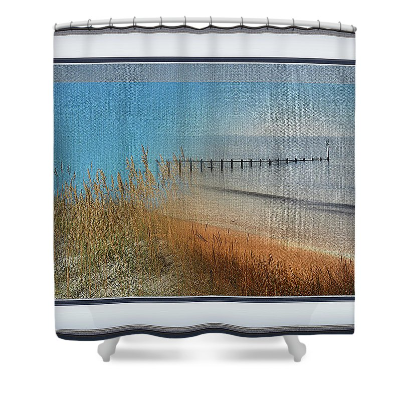 Wharf Shower Curtain featuring the mixed media Calm Dawn Tide Montage by Clive Littin