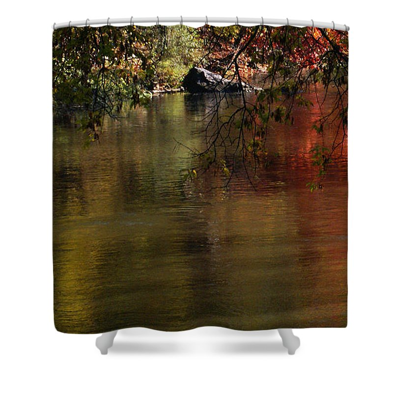 River Shower Curtain featuring the photograph Calm Reflection by Linda Shafer