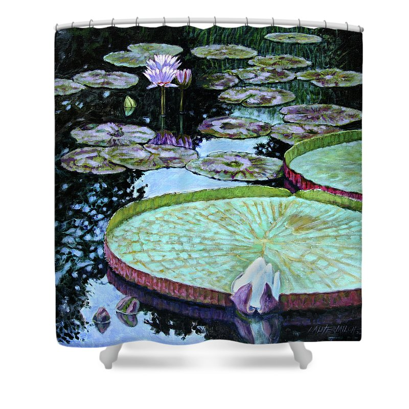 Water Lilies Shower Curtain featuring the painting Calm Reflections by John Lautermilch