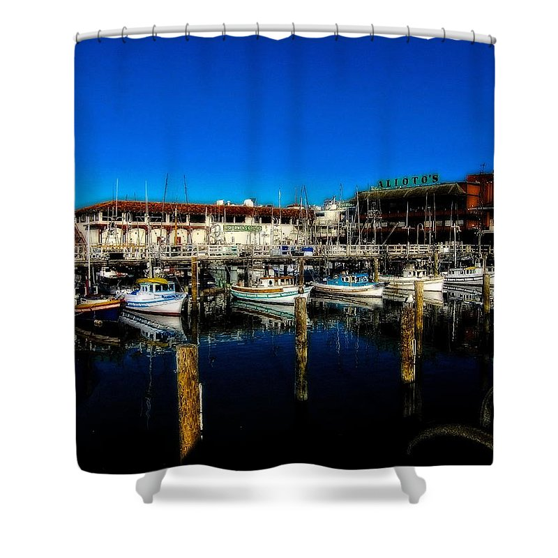 Fishermans Wharf Shower Curtain featuring the photograph Calm Waters V2 by Douglas Barnard