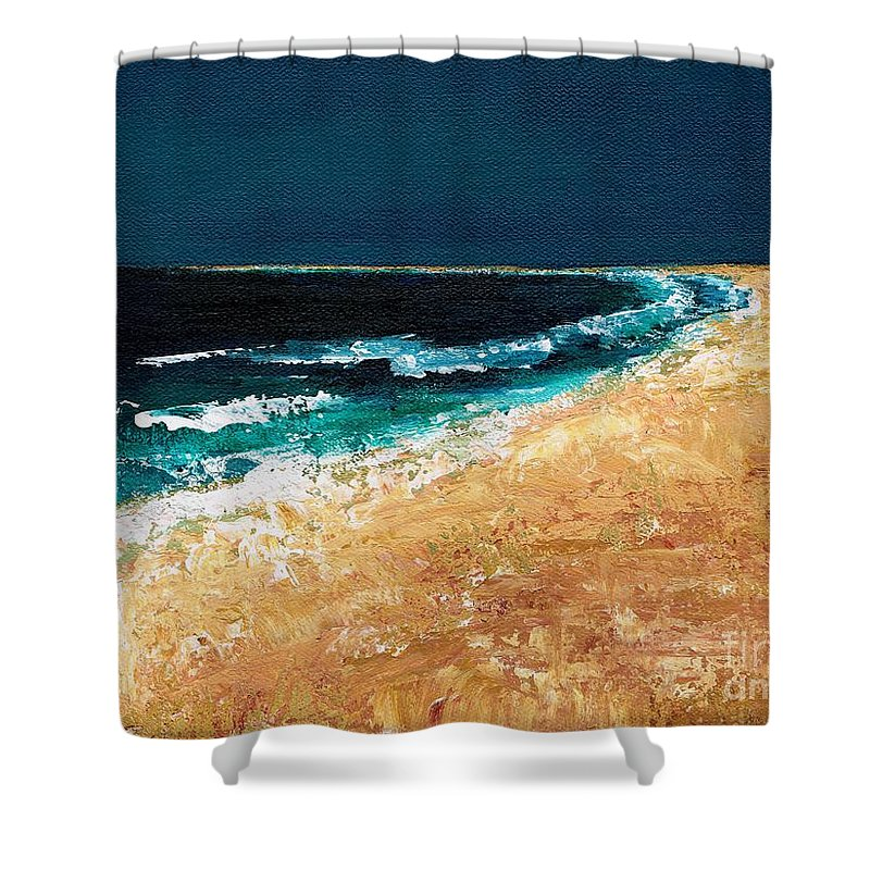 Ocean Tide Shower Curtain featuring the painting Calming Waters by Frances Marino