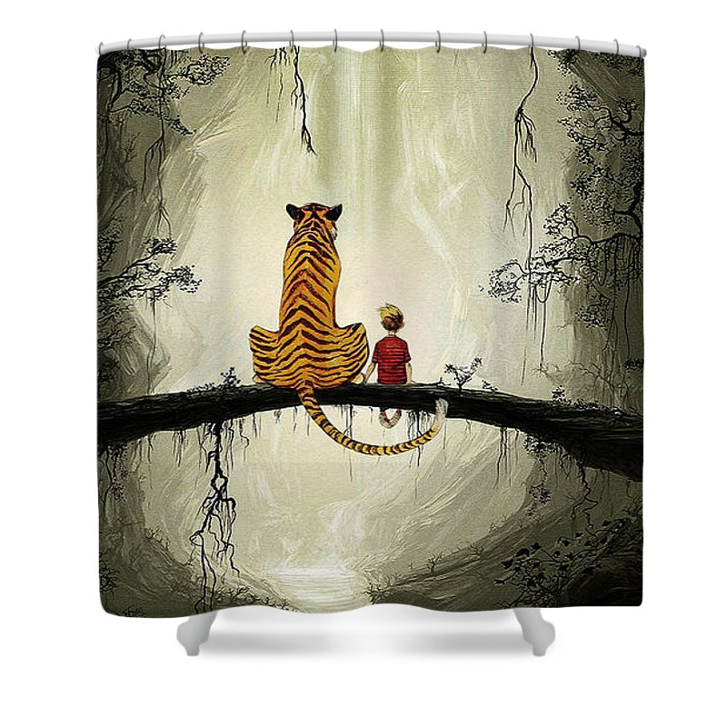 Calvin And Hobbes Shower Curtain featuring the digital art Calvin And Hobbes by Koko Priyanto