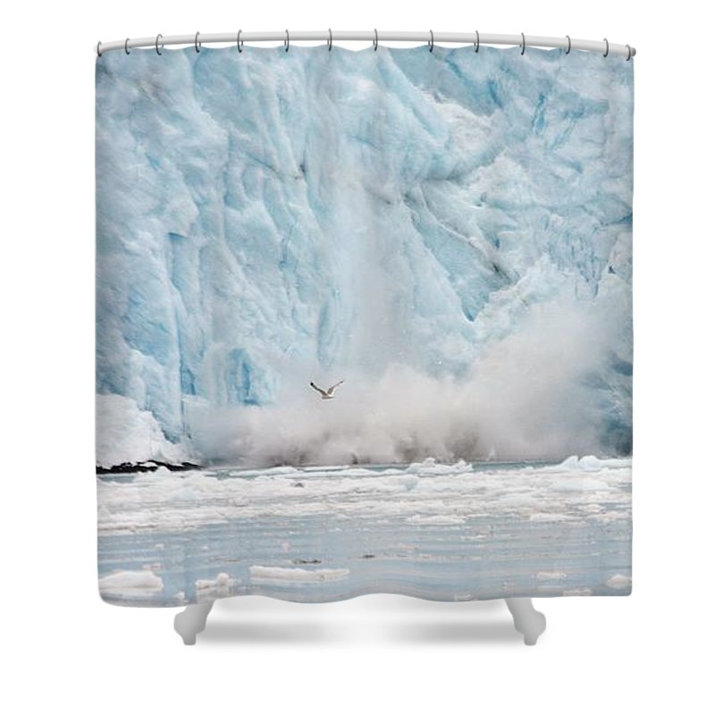 Glacier Shower Curtain featuring the photograph Calving by Donna Cain