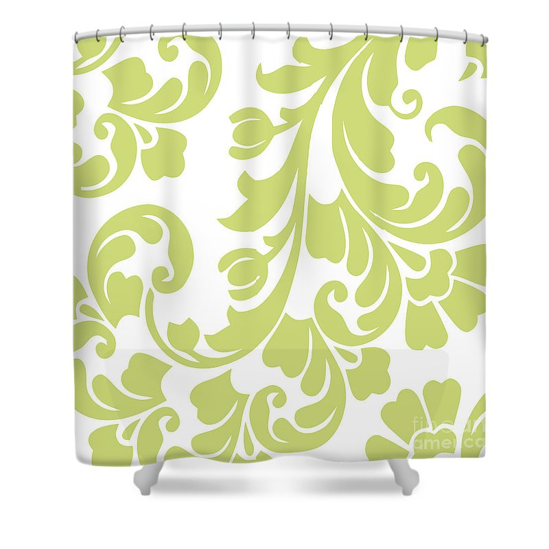 Calyx Shower Curtain Featuring The Painting Chartreuse Damask By Mindy Sommers