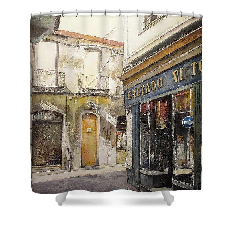 Calzados Shower Curtain featuring the painting Calzados Victoria-leon by Tomas Castano
