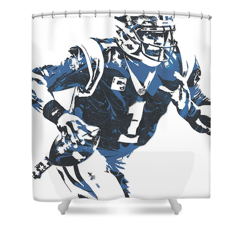 Cam Newton Shower Curtain Featuring The Mixed Media Carolina Panthers Pixel  Art 12 By