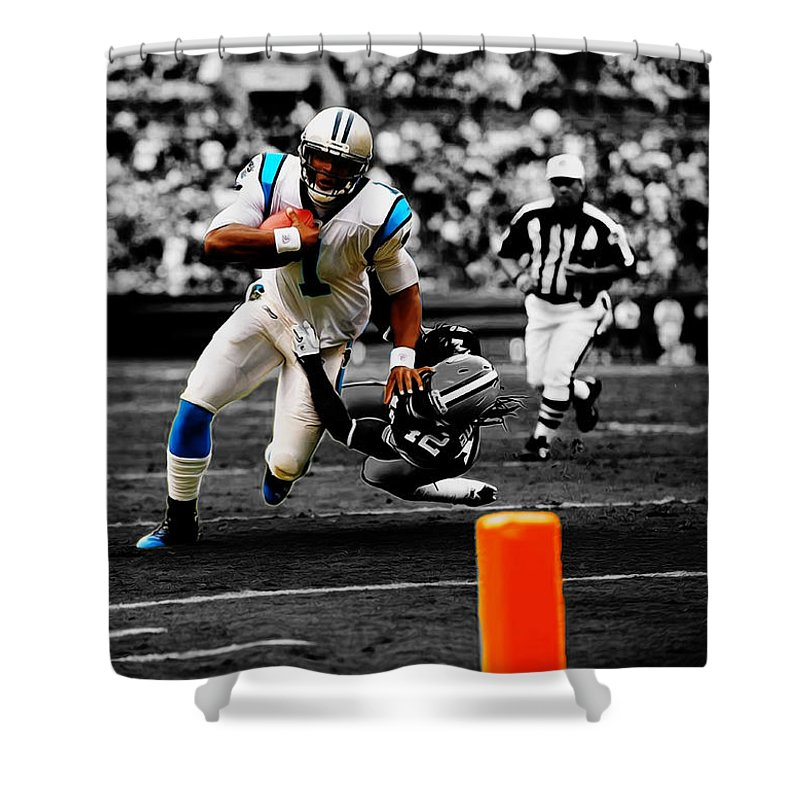 Cam Newton Shower Curtain featuring the mixed media Cam Newton Eye On The Prize by Brian Reaves