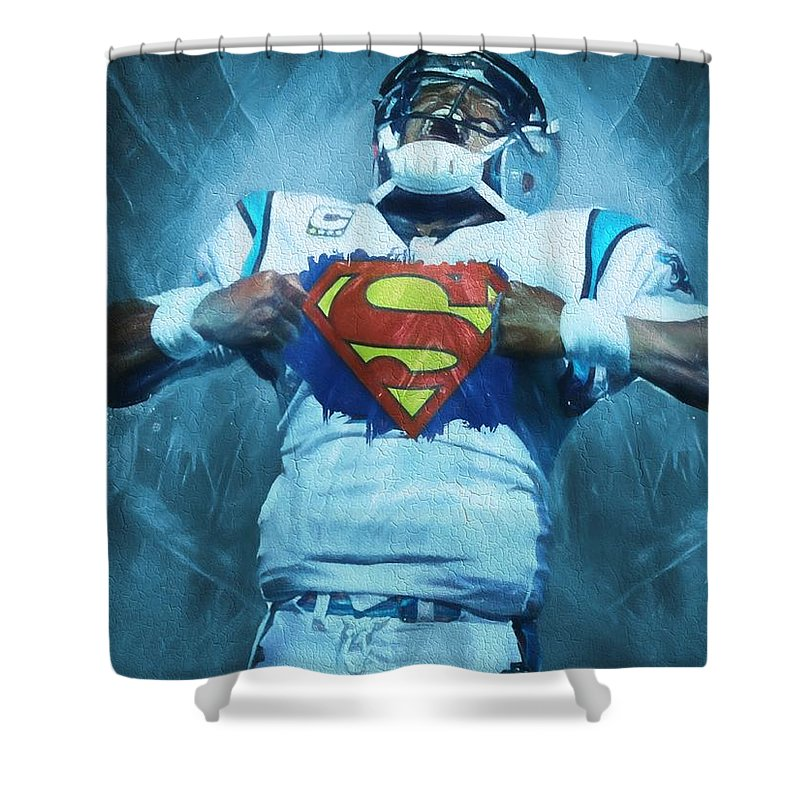 Cam Newton Superman Shower Curtain Featuring The Painting By Dan Sproul